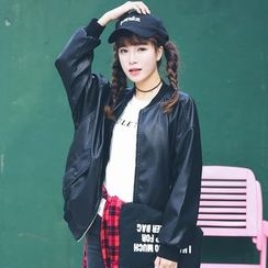 AiAi Bear - Faux Leather Letter Embroidered Bomber Jacket