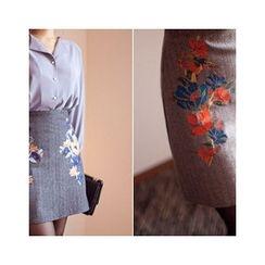MASoeur - Floral Embroidered Wool Blend Skirt