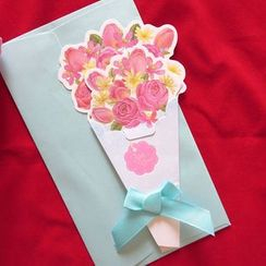 Lucky Cat - Floral Lace Cutout 3D Greeting Card