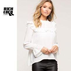 Richcoco - Ruffle Trim Bell-Sleeve Chiffon Blouse