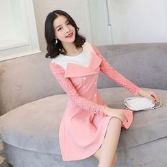 Emeline - Lace Sleeve Double-Breasted A-Line Dress