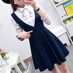 Cottony - Long-Sleeve Mock Two Piece Dress