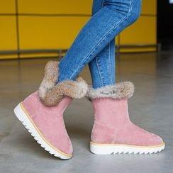 Pastel Pairs - Furry Trim Platform Snow Boots