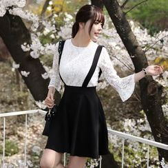 Angel Shine - Set: Elbow-Sleeve Lace Top + Strapped Skirt