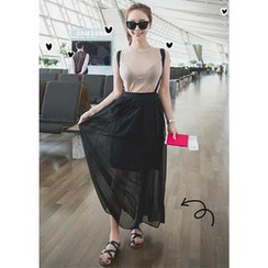 MANYCURE - Maxi Skirt with Suspenders