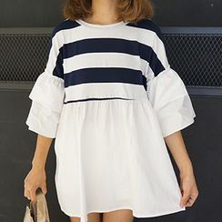 Cloud Nine - Stripe Panel Frilled Top