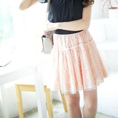 Tokyo Fashion - Tulle Layered Lace Skirt