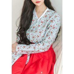 Dalkong - Set: Cherry Print Hanbok Top + Skirt