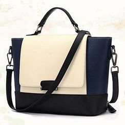 BeiBaoBao - Faux-Leather Color-Block Satchel