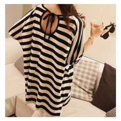 Dream Girl - Maternity Striped Elbow Sleeve T-Shirt