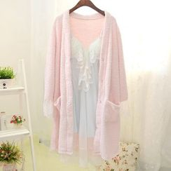 Snorie - Pajama Set: Long-Sleeve Robe + Strap Sleep Dress