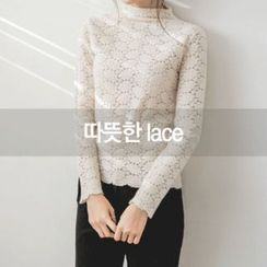 JUSTONE - Mock-Neck Floral Lace Top