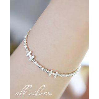 Miss21 Korea - Lettering Silver-Ball Bracelet