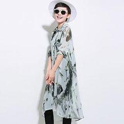 OnceFeel - Long Sleeved Print Chiffon Shirt