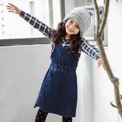 OrangeBear - Kids Cross-back Design Denim Overall Skirt