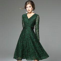 欧依潮派 - 长袖蕾丝连衣裙