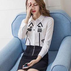 妮佳 - 套装: 小猫衬衫 + A字裙子