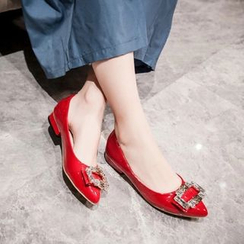JY Shoes - Rhinestone Buckled Flats
