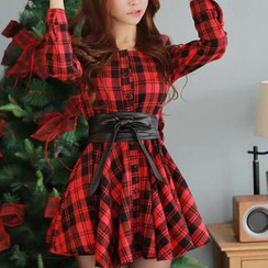 JVL - Buttoned Plaid Dress with Belt