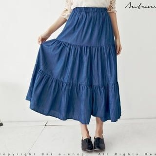BAIMOMO - Tiered Denim Maxi Skirt