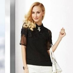 O.SA - Set: Appliqué Sheer Top + Sleeveless Blouse