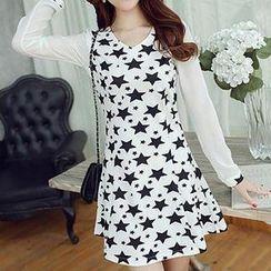 Q.C.T - Long-Sleeve Star Pattern A-Line Dress