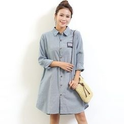 Waypoints - Linen Cotton Embroidered Long-Sleeve Shirtdress