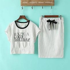 LULUS - Set: Striped Top + Drawstring-Waist Skirt