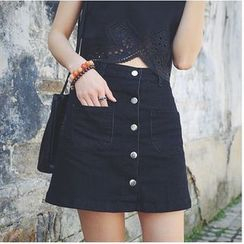 Denim Fever - Buttoned Denim Skirt