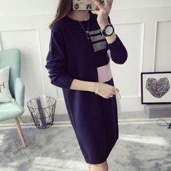 Qimi - 長袖撞色連衣裙