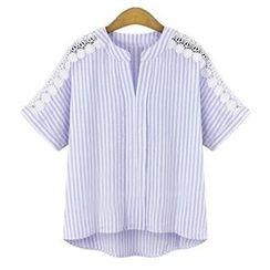 Fashion Street - 钩织边条纹短袖衬衫