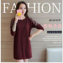 VIZZI - Long-Sleeve Lace Panel A-Line Dress