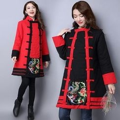 Diosa - Flower Embroidered Panel Long Padded Coat