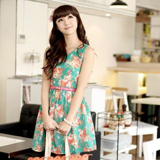 59 Seconds - Floral Print Dress (Belt not Included)
