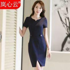 Skyheart - Short-Sleeve Slit Front Sheath Dress / Blazer