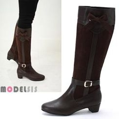 MODELSIS - Bow-Accent Faux-Suede Long Boots
