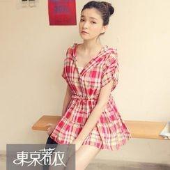 Tokyo Fashion - Tab-Sleeve Drawstring Plaid Tunic