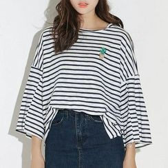 SUYISODA - Striped 3/4-Sleeve T-Shirt