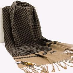 RGLT Scarves - Fringed Houndstooth Wool Scarf