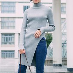 Pluvio - Side Slit Mock Neck Long Sleeve Knit Tunic