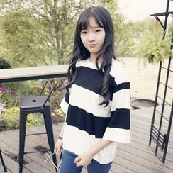 Polaris - Stripe Elbow-Sleeve Knit Top