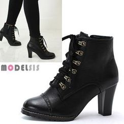 MODELSIS - Genuine Leather Lace-Up Ankle Boots
