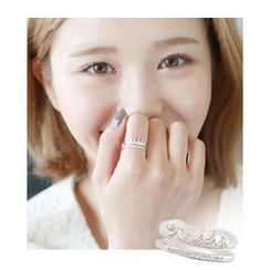 Miss21 Korea - Crown Tiered Open Silver Ring