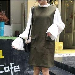 CaraMelody - Long-Sleeve Mock Two Piece Woolen Dress