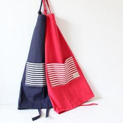 三木青禾 - 条纹拼接麻布围裙