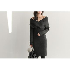 UPTOWNHOLIC - Scallop-Trim Wrap-Front Knit Dress