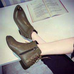 Wello - 繫帶後踝靴