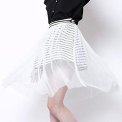 Xiaowei - Sheer Mesh-Layered Midi Skirt