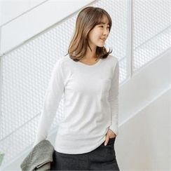 JOAMOM - Round-Neck Pocket-Front T-Shirt