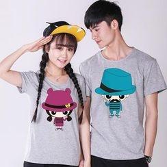 Sunny Station - Couple Matching Print Short-Sleeve T-Shirt
